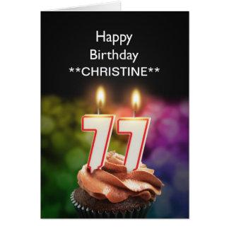 Add a name, 77th birthday card