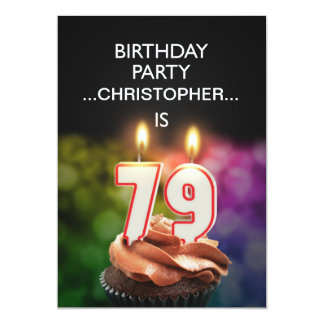 Add a name, 79th Birthday party Invitation