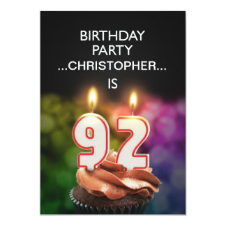 Add a name, 92nd Birthday party Invitation