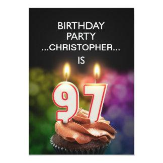 "Add a name, 97th Birthday party Invitation 5"" X 7"" Invitation Card"