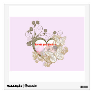 Add a name and photo with gold love heart wall sticker