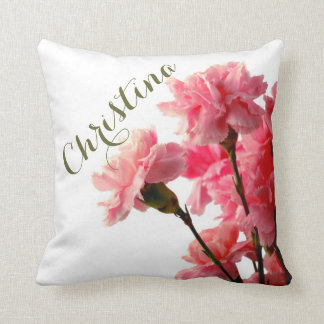 Add A Name Beautiful Pink Carnations Flower Pillow