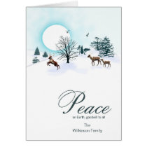 Add a name, Christmas scene with reindeer Card