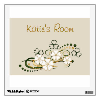 Add a name decal with clover and flowers design