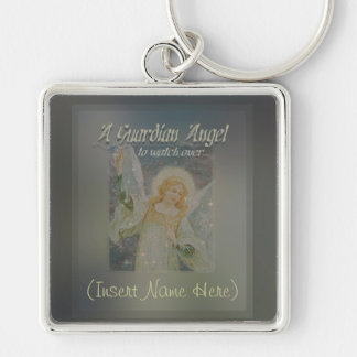 Add a Name Guardian Angel Customize It! Silver-Colored Square Keychain