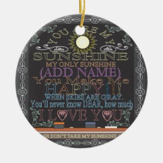 Add a Name Sunshine Vintage Chalkboard Ceramic Ornament