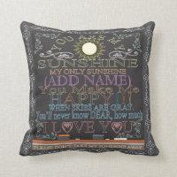 Add a Name Sunshine Vintage Chalkboard Throw Pillow