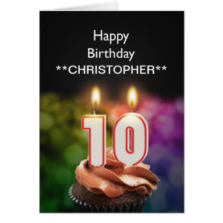 Add a name to this 10th birthday card candles