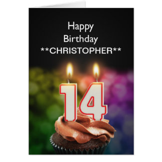Add a name to this 14th birthday card candles
