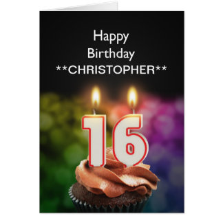 Add a name to this 16th birthday card candles