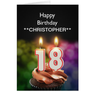 Add a name to this 18th birthday card candles