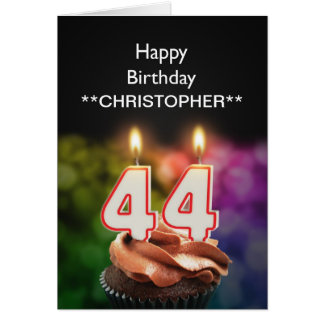 Add a name to this 44th birthday card candles