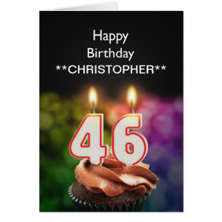 Add a name to this 46th birthday card candles