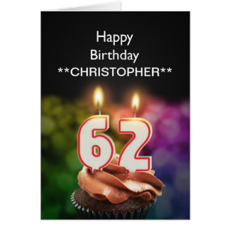 Add a name to this 62nd birthday card candles
