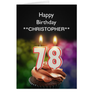Add a name to this 78th birthday card candles