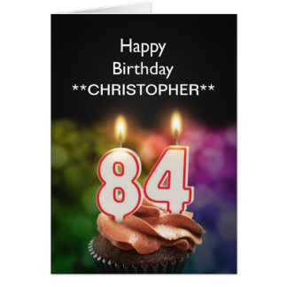 Add a name to this 84th birthday card candles