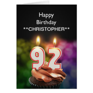 Add a name to this 92nd birthday card candles