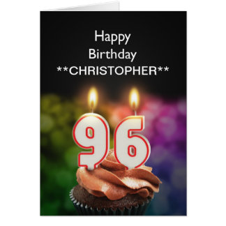Add a name to this 96th birthday card candles