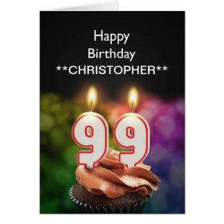 Add a name to this 99th birthday card with candles