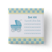 Add A Note Blue Baby Carriage Button button