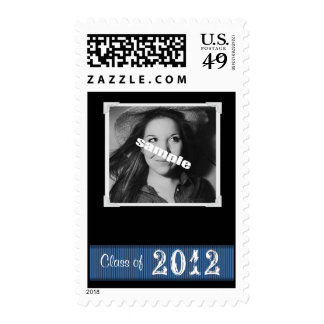 Add a Photo Black Grad Postage Blue Ribbon