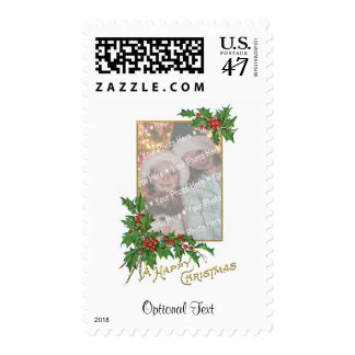 Add-A-Photo Christmas Vintage Gold & Holly Berries Postage
