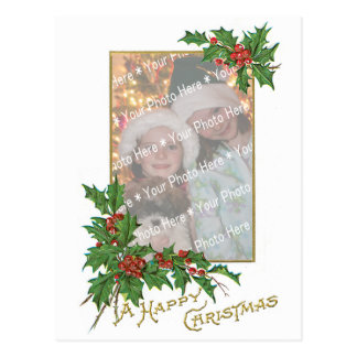 Add-A-Photo Christmas Vintage Gold & Holly Berries Postcard