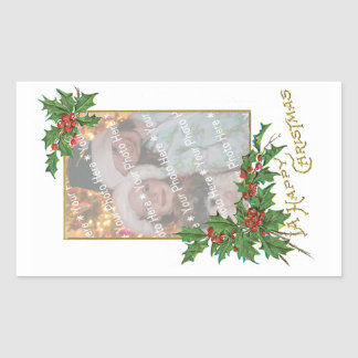Add-A-Photo Christmas Vintage Gold & Holly Berries Rectangular Sticker