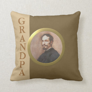 Add a Photo -- Round Gold-Effect Frame 'Grandpa' Pillows