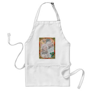 Add-A-Photo Stained Glass Frame with Holly Leaves Adult Apron