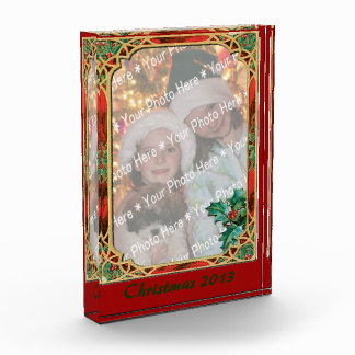 Add-A-Photo Stained Glass Frame with Holly Leaves Award