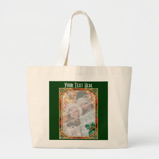 Add-A-Photo Stained Glass Frame with Holly Leaves Large Tote Bag