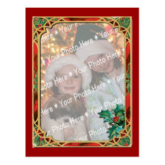 Add-A-Photo Stained Glass Frame with Holly Leaves Postcard