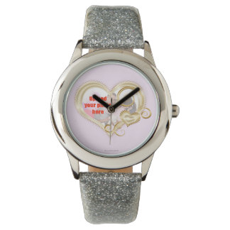 Add a photo to  watch with gold loveheart