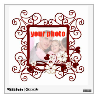 Add a photo wall decal with red hearts and scrolls