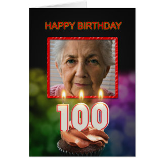 Add a picture, 100th Birthday card with Candles