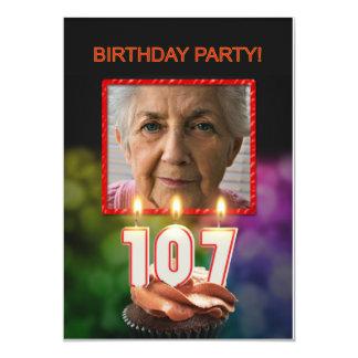 Add a picture, 107th Birthday party Invitation