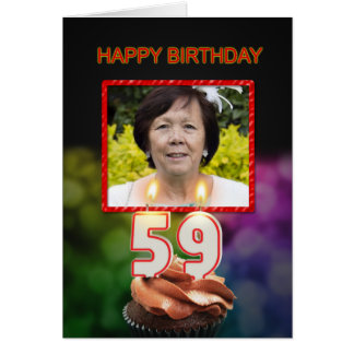 Add a picture, 59th Birthday with cake and candles Card