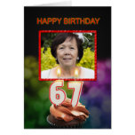 Add a picture, 67th Birthday card with Candles