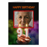 Add a picture, 91st Birthday card with Candles
