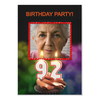 Add a picture, 92nd Birthday party Invitation