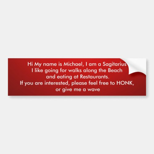 Add a saying Red colour Bumper Sticker