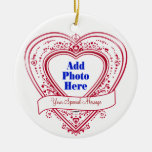 Add A Special Message Photo Red Hearts Christmas Tree Ornament