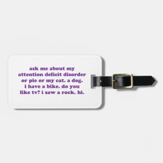 ADD ADHD Funny Quote - Purple Bag Tag