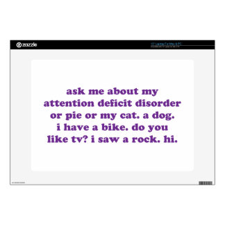 ADD ADHD Funny Quote - Purple Skins For Laptops