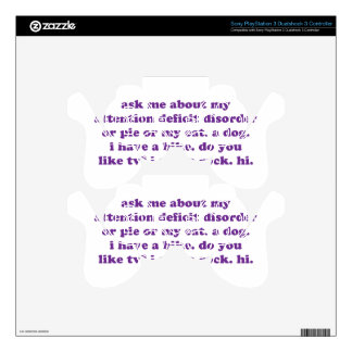 ADD ADHD Funny Quote - Purple Skins For PS3 Controllers