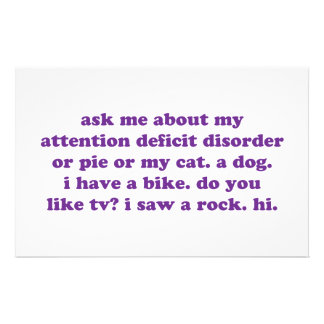 ADD ADHD Funny Quote - Purple Stationery