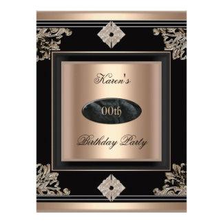 Add Age Birthday Party Art Deco Black Coffee Invite
