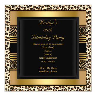 Add Age Party Birthday Wild Exotic Animal Gold Card