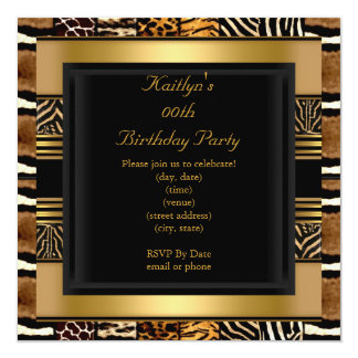 Add Age Party Birthday Wild Exotic Mixed Animal Card